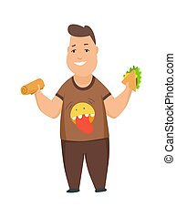 Overweight boy cute chubby child cartoon characters eating fast food vector Illustration on a white background.