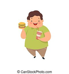 Overweight boy with hamburger and soda drink, cute chubby child cartoon character vector Illustration on a white background