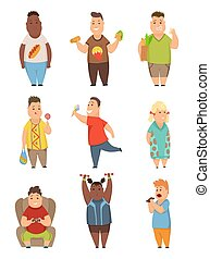 Overweight boys and girls set, cute chubby children cartoon characters eating fast food vector Illustration on a white background.