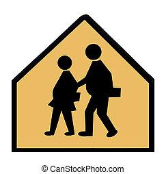 Overweight Children Crossing - A school crossing sign...