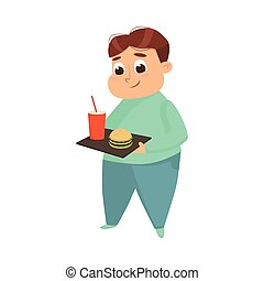 Overweight Chubby Boy Eating Fast Food, Cheerful Fat Unhealthy Kid Character Cartoon Style Vector Illustration