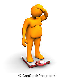 Overweight - Orange fat cartoon on scale, isolated on white.