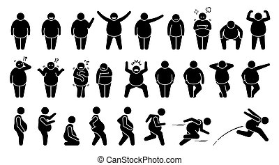 Overweight fat man basic poses and postures stick figure character pictogram.