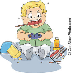 Illustration of an Overweight Boy Playing Video Games