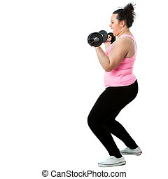 Overweight girl doing workout.
