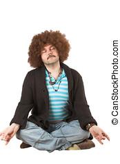 Overweight hippie meditating - Overweight hippie in...