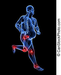 overweight jogger - 3d rendered illustration of a running...
