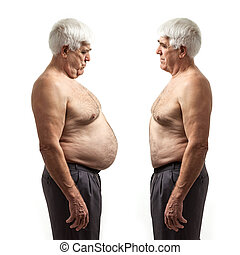 Overweight man and regular weight man over white background