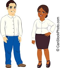 Overweight Man And Woman - Illustration of overweight...