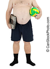 Overweight man with scales and ball