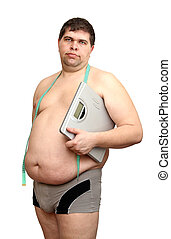 overweight man with scales