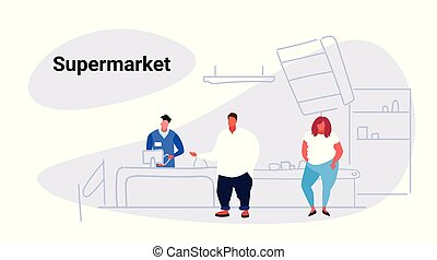 overweight man woman customers standing in line at cash desk with cashier shopping concept grocery shop supermarket interior sketch doodle horizontal
