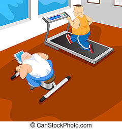 GYM - Overweight mans in GYM. vector illustration