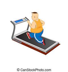 Overweight men running on a treadmill. Vector Illustration