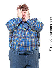 Overweight obese country yokel squashing his face, on white ...