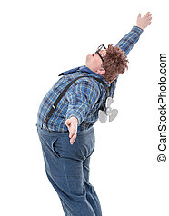 Overweight obese young man standing with his back arched and...
