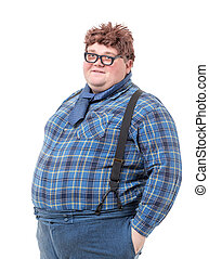 Overweight obese young man - Overweight obese country yokel,...