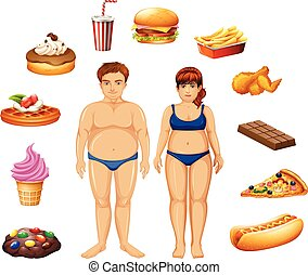 Overweight people with unhealthy food illustration