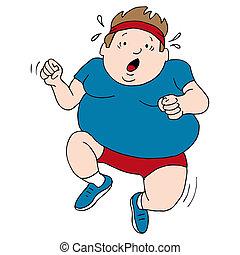 Overweight Runner - An image of an overweight runner.