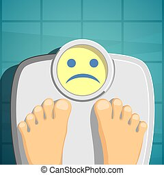 Overweight. Scales for weighing. Stock Vector cartoon illustrati