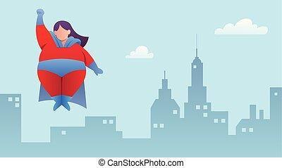 Overweight Superheroine Flying