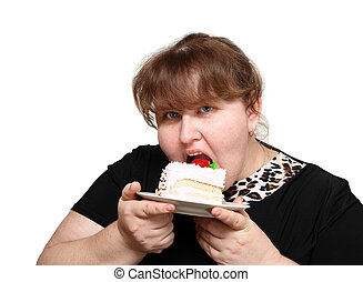 overweight woman biting cake