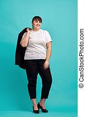Overweight woman in suit, body positive