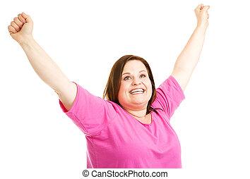 Overweight Woman is Overjoyed