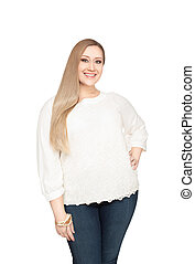 Overweight woman smiling positive