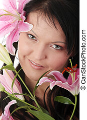 Portrait of Beautiful and overweight woman with lily flower isolated on white