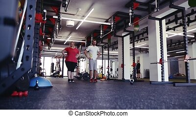 Overweight woman with personal trainer in modern gym.