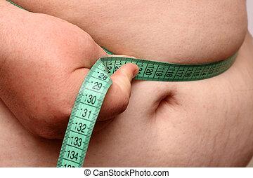 overweight women stomach - overweight women measure her...