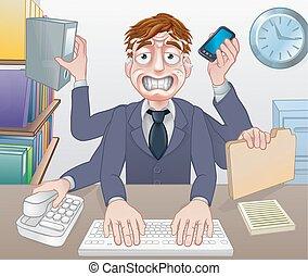overwerkt, multitasking, beklemtoonde, zakenmens