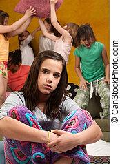 Overwhelmed Babysitter - Overwhelmed babysitter with wild...