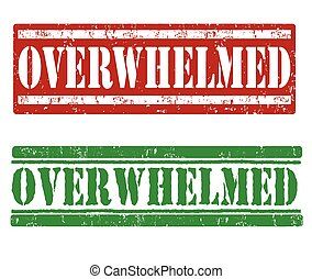 Overwhelmed stamps - Overwhelmed grunge rubber stamps on...