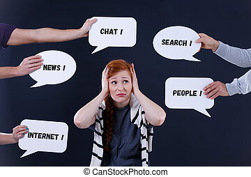 Overwhelmed woman and speech bubbles with short text