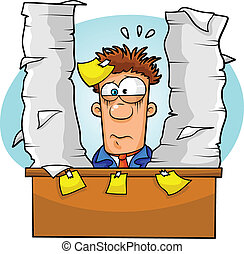 overwhelmed worker - worker overwhelmed by lots of paperwork...