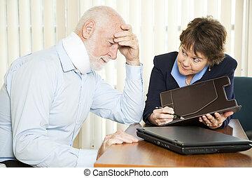 Overwhelming Medical Bills - Injured senior man and his...