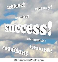 overwinning, ambitie, -, woorden, succes