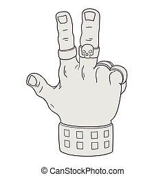 overwinning, gebaar, hand