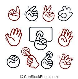 overwinning, hallo, vijf, symbool., menselijke vuist, vinger, signs., sociaal, vrijstaand, vector, vingers, handen, netwerk, knopen, set., website, illustration., collection., abstract, logotypes., wijzende, logo, ok, geven