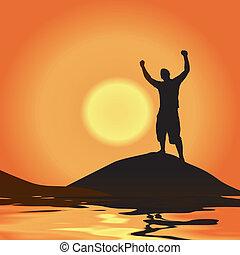 overwinning, op, ondergaande zon