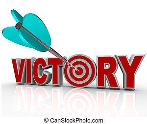 overwinning, richtingwijzer, in, woord, slagen, triomf, in,...