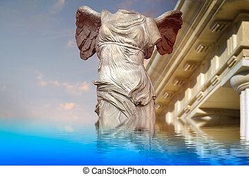overwinning, van, samotracia, oude kunst, weerspiegelde in, een, kalm, sea.