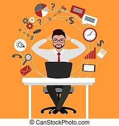 Overworked and tired businessman or office worker sitting at his desk ,Business stress.