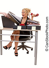 Overworked - Blond woman secretary sitting at desk with over...