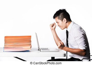 Overworked business man. - Stressed Asian Business man due...