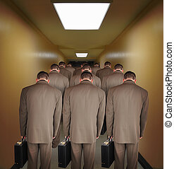 Overworked Business Men Walking down Hallway - Business men...