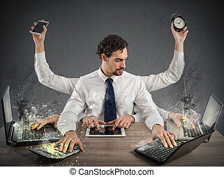 Overworked businessman - Businessman stressed out from too...