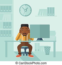 Overworked businessman is under stress. - An overworked...